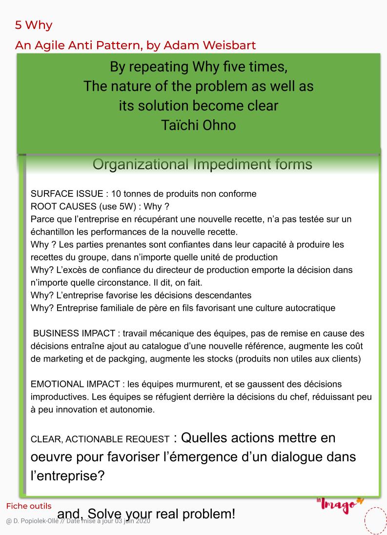 Culture autocratique, les 5 why, 5 pourquoi sont utilisés en anti pattern Agile  dans ce retour d'expérience sur les impacts d'un management autocratique.